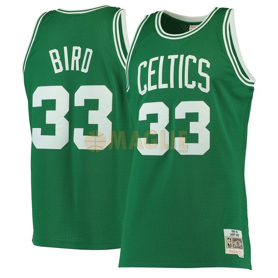 Acquista Sconto Maglia NBA Boston Celtics NO.33 Larry Bird Verde Hardwood Classics 1985-86