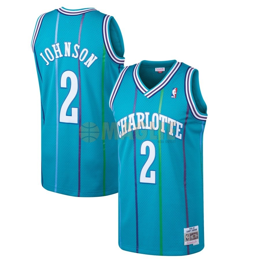 Acquista Sconto Maglia NBA Charlotte Hornets NO.2 Larry Johnson Blu Hardwood Classics 1992-93