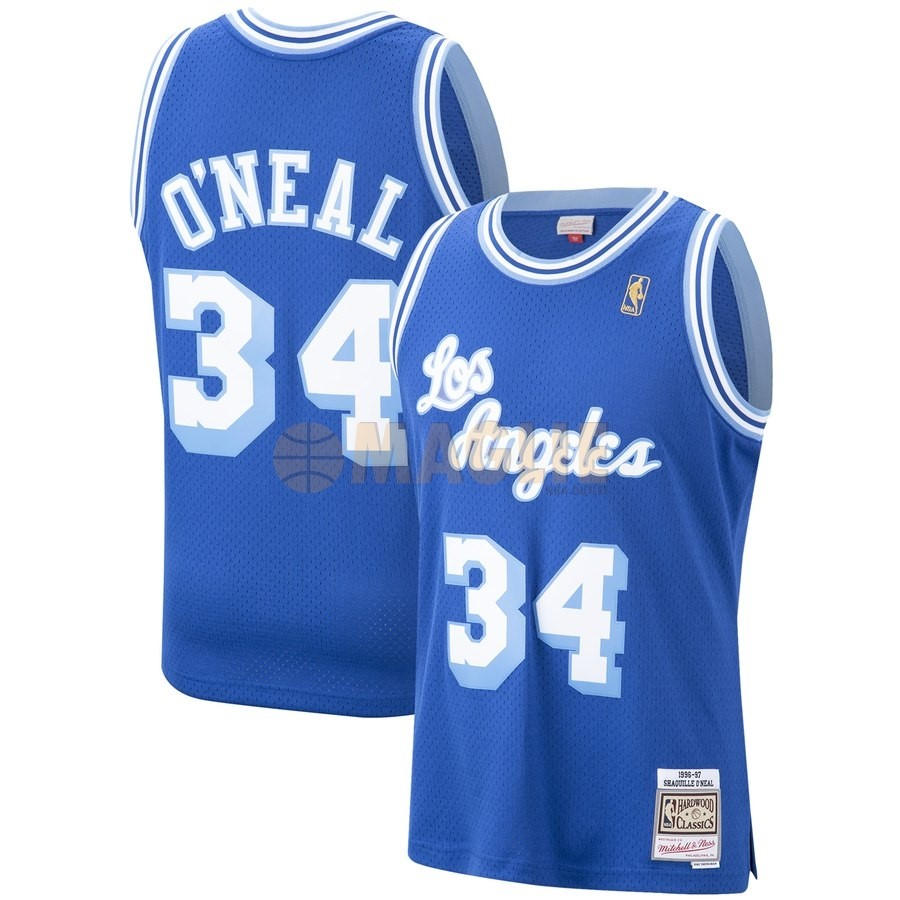 Acquista Sconto Maglia NBA Los Angeles Lakers NO.34 Shaquille O'Neal Blu Hardwood Classics 1996-97