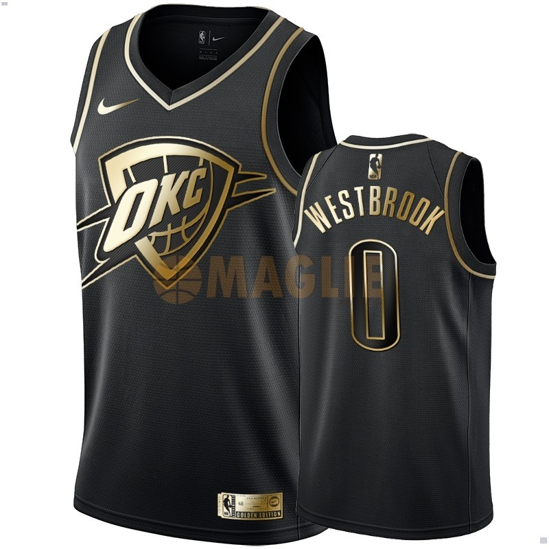 Acquista Sconto Maglia NBA Nike Oklahoma City Thunder NO.0 Russell Westbrook Oro Edition