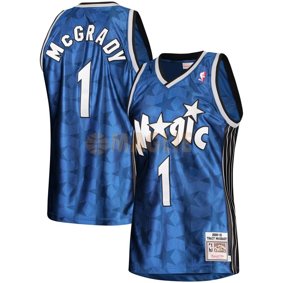 Acquista Sconto Maglia NBA Orlando Magic NO.1 Tracy McGrady Blu Hardwood Classics 2000-01