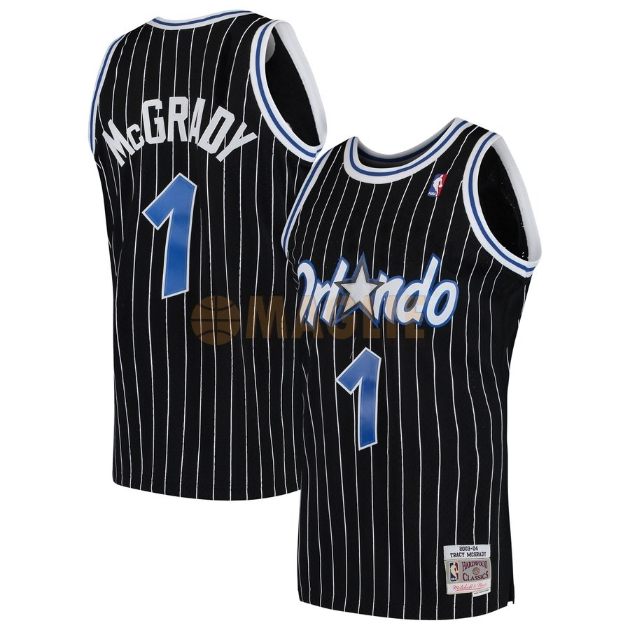 Acquista Sconto Maglia NBA Orlando Magic NO.1 Tracy McGrady Nero Hardwood Classics 2003-04