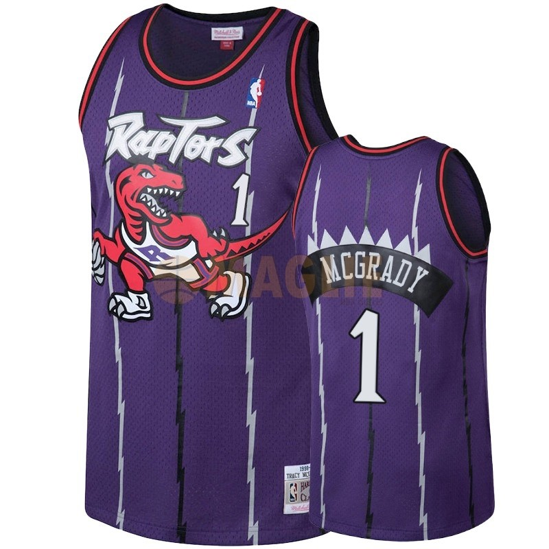 Acquista Sconto Maglia NBA Toronto Raptors NO.1 Tracy McGrady Porpora Hardwood Classic 1998-99