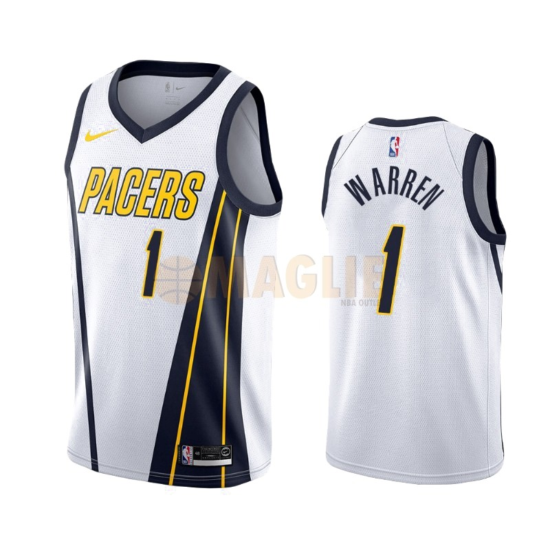 Acquista Sconto Maglia NBA Earned Edition Indiana Pacers NO.26 T.J. Warren Gray Bianco 2019-20