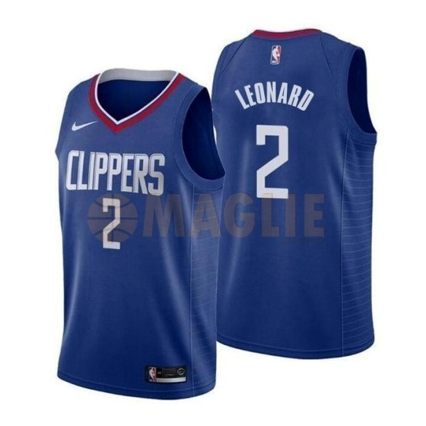 Acquista Sconto Maglia NBA Nike Los Angeles Clippers NO.2 Kawhi Leonard Blu Icon 2019-20