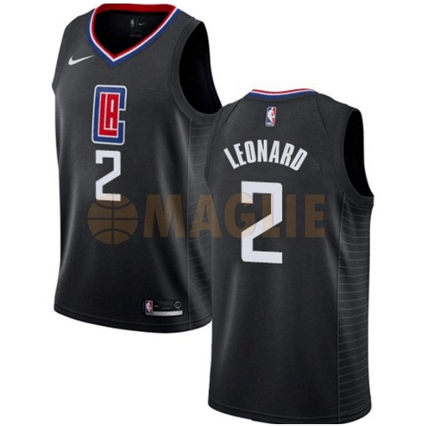Acquista Sconto Maglia NBA Nike Los Angeles Clippers NO.2 Kawhi Leonard Nero Statement 2019-20