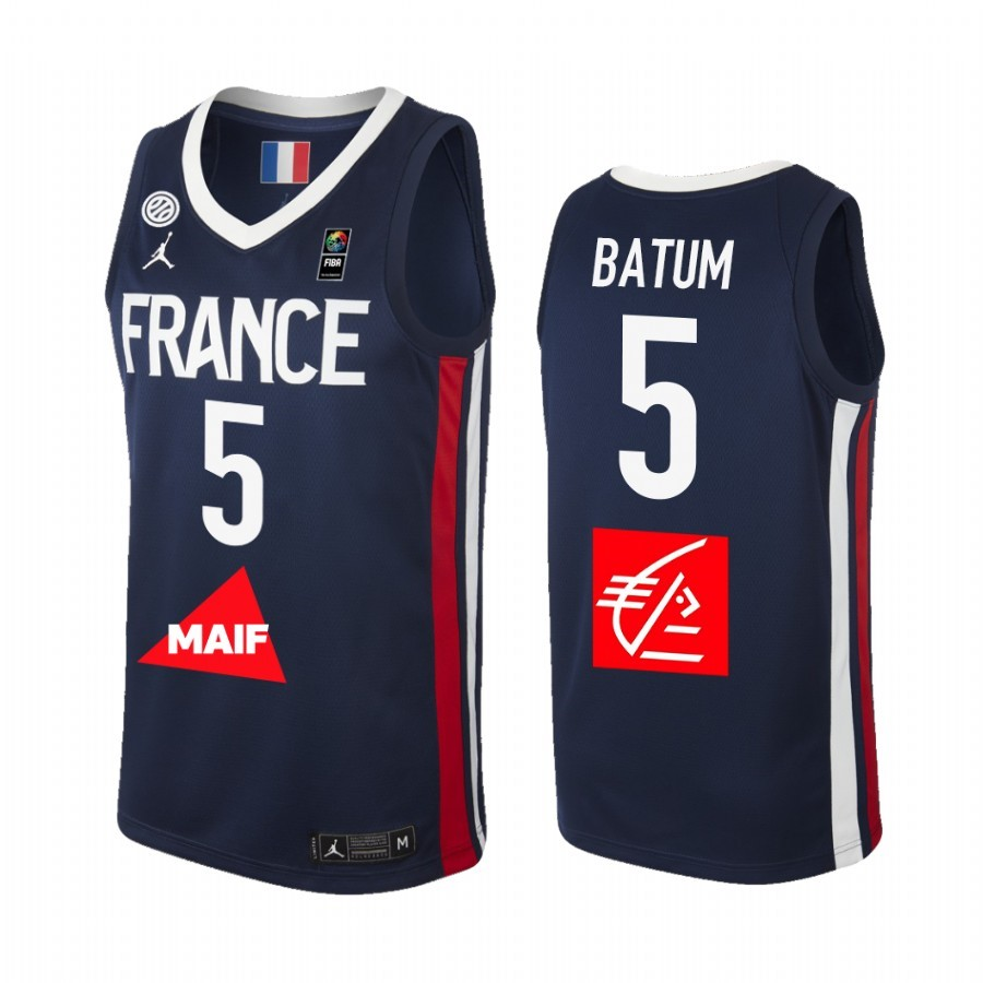 Acquista Sconto Coppa Mondo Basket FIBA 2019 France NO.5 Nicolas Batum Marino
