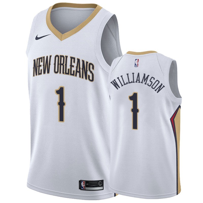 Acquista Sconto Maglia NBA Nike New Orleans Pelicans NO.1 Zion Williamson Bianco Association
