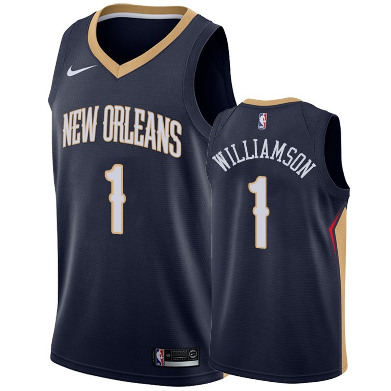 Acquista Sconto Maglia NBA Nike New Orleans Pelicans NO.1 Zion Williamson Marino Icon