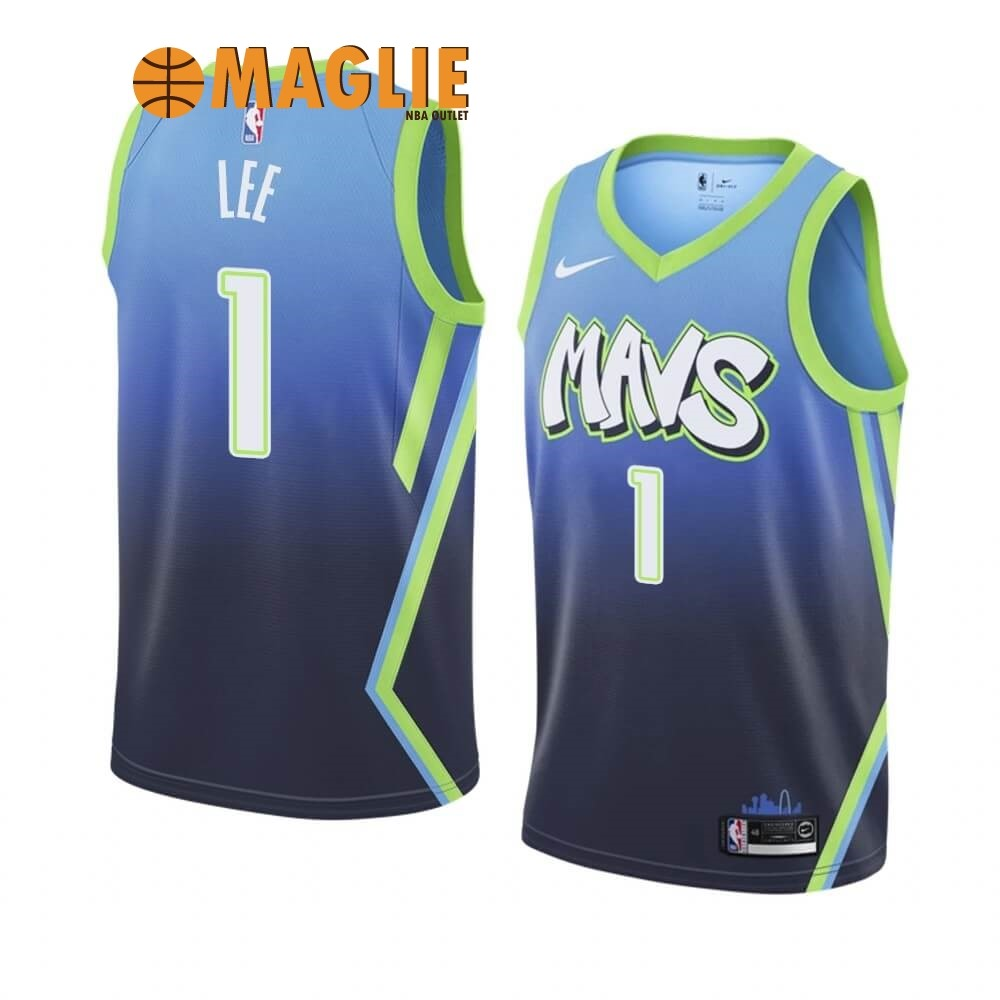 Acquista Sconto Maglia NBA Nike Dallas Mavericks NO.1 Courtney Lee Nike Blu Città 2019-20