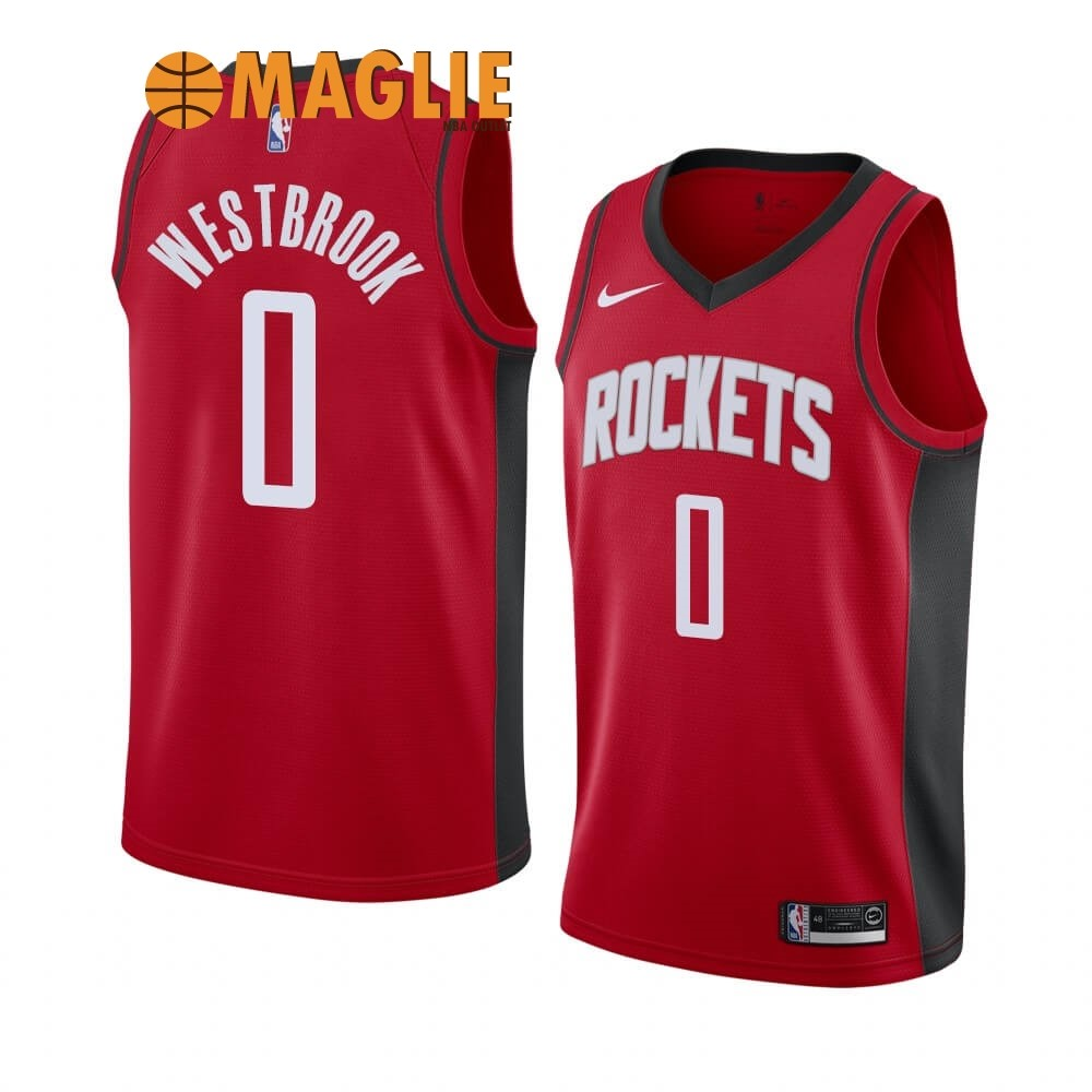 Acquista Sconto Maglia NBA Nike Houston Rockets NO.0 Russell Westbrook Rosso Icon 2019-20