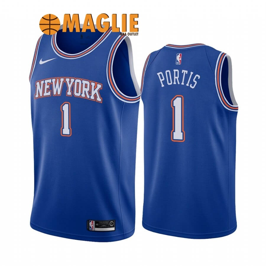 Acquista Sconto Maglia NBA Nike New York Knicks NO.1 Bobby Portis Blu Statement 2019-20