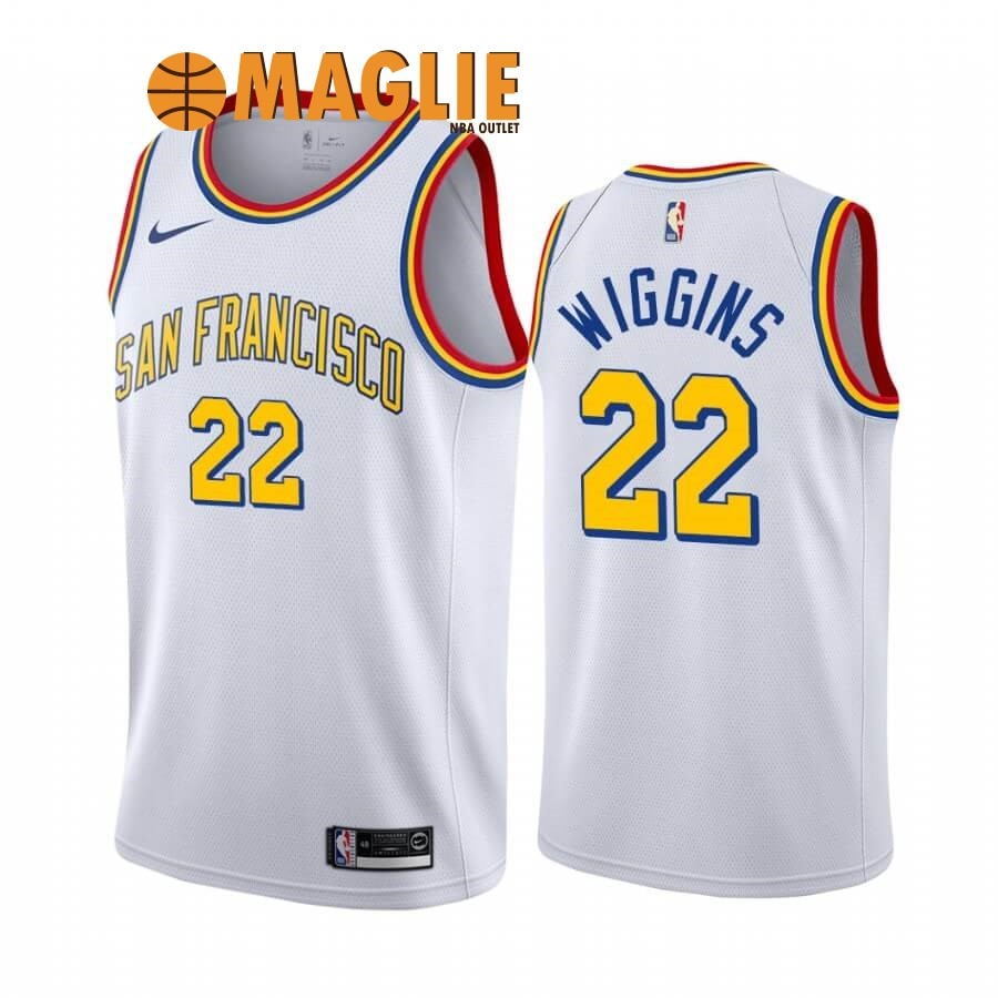 Acquista Sconto Maglia NBA Golden State Warriors NO.22 Andrew Wiggins Bianco Classics Edition 19 20