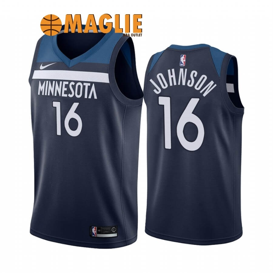 Acquista Sconto Maglia NBA Nike Minnesota Timberwolves NO.16 James Johnson Marino Icon 2019-20