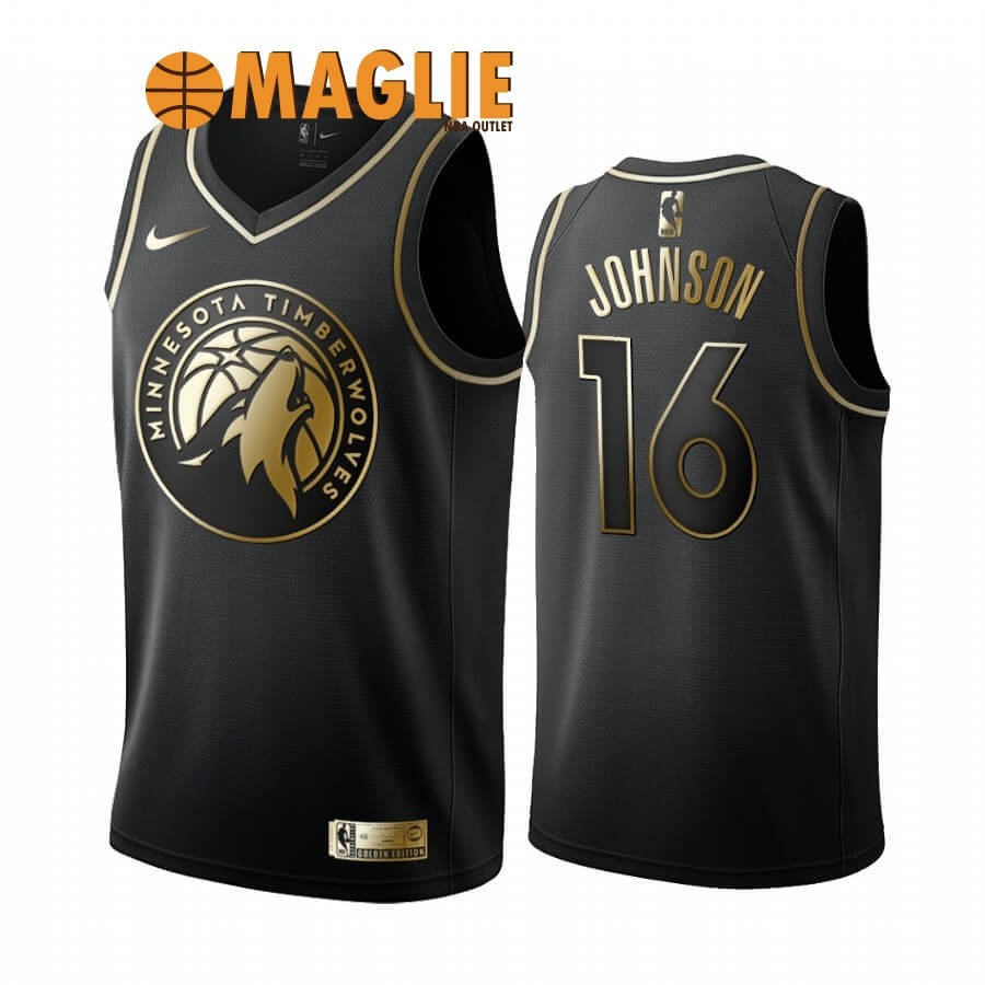 Acquista Sconto Maglia NBA Nike Minnesota Timberwolves NO.16 James Johnson Oro Edition 2019-20