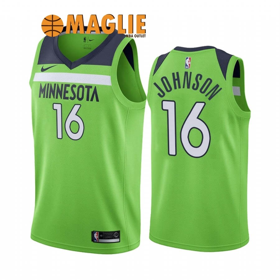 Acquista Sconto Maglia NBA Nike Minnesota Timberwolves NO.16 James Johnson Verde Statement 2019-20