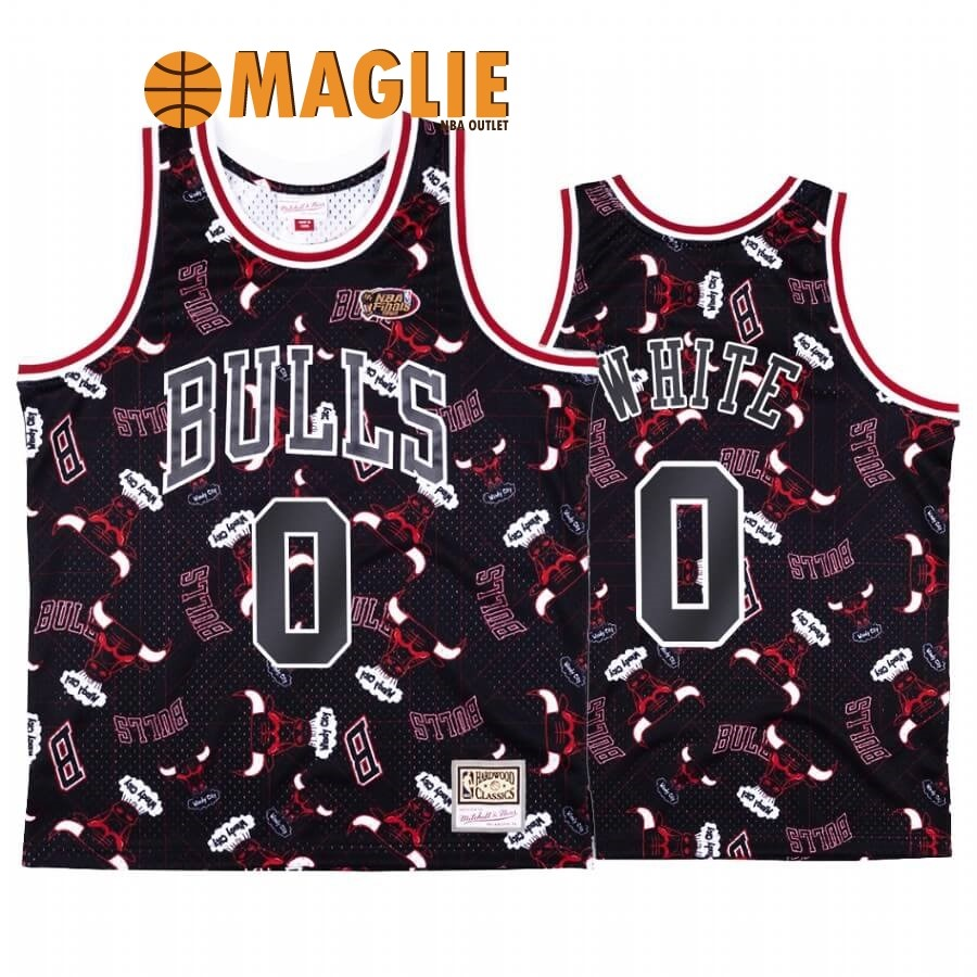 Acquista Sconto Maglia NBA Chicago Bulls Tear Up Pack NO.0 Coby White Nero Hardwood Classics