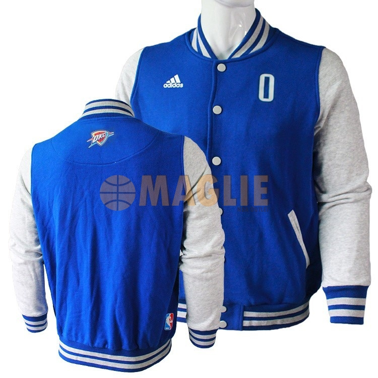 Acquista Sconto Giacca Di Lana NBA Oklahoma City Thunder NO.0 Russell Westbrook Blu