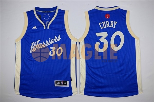 Acquista Sconto Maglia NBA Bambino 2015 Natale Golden State Warriors NO.30 Stephen Curry Blu