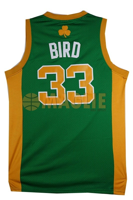 Acquista Sconto Maglia NBA Boston Celtics No.33 Larry Joe Bird Verde Arancia