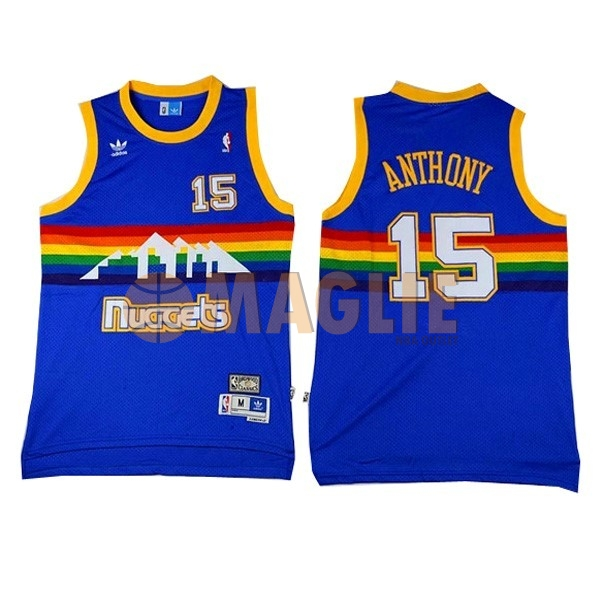 Acquista Sconto Maglia NBA Denver Nuggets NO.15 Carmelo Anthony Blu