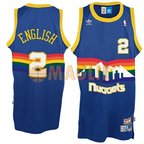 Acquista Sconto Maglia NBA Denver Nuggets NO.2 Alex English Blu