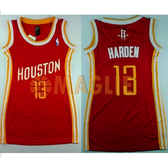 Acquista Sconto Maglia NBA Donna Houston Rockets NO.13 James Harden Retro Rosso