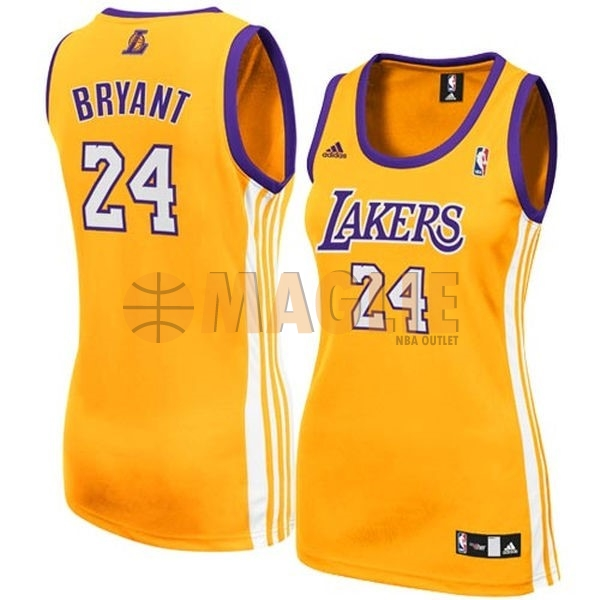 Acquista Sconto Maglia NBA Donna Los Angeles Lakers NO.24 Kobe Bryant Giallo
