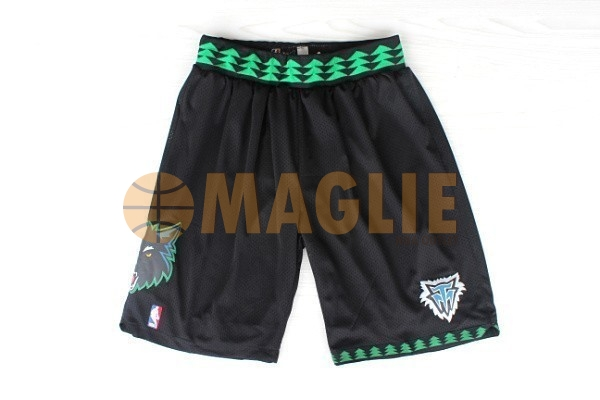 Acquista Sconto Pantaloni Basket Minnesota Timberwolves Retro Nero