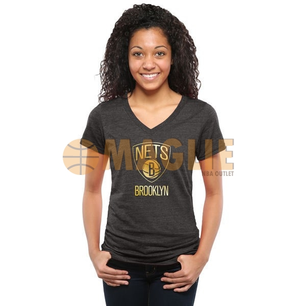 Acquista Sconto T-Shirt Donna Brooklyn Nets Nero Oro