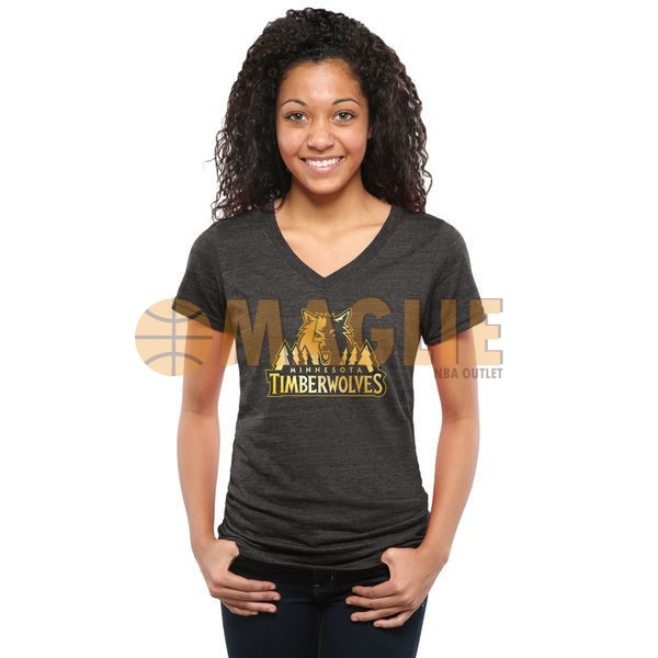 Acquista Sconto T-Shirt Donna Minnesota Timberwolves Nero Oro